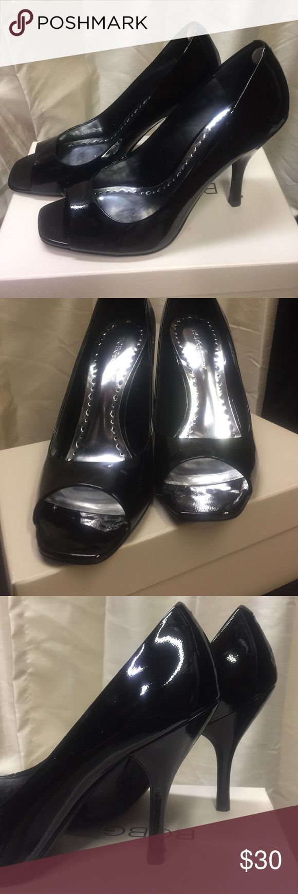 BCBE generation black patten leather pumps Black patten leather heels, slip on shoe with peep toe. Excellent condition, only wore once BCBGeneration Shoes Heels