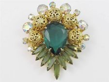 Vintage JULIANA D&E Green & AB Rhinestone Filigree Ball Brooch