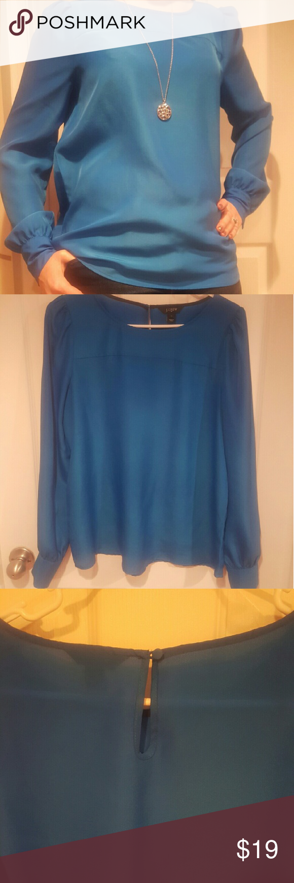 J Crew Cobalt Blue Blouse J Crew Cobalt Blue Blouse. Size Medium.   Roughing at the shoulder.   Button on closure at the back of the neck.  Two buttons on each sleeve cuff.   Excellent condition. J Crew Tops Blouses