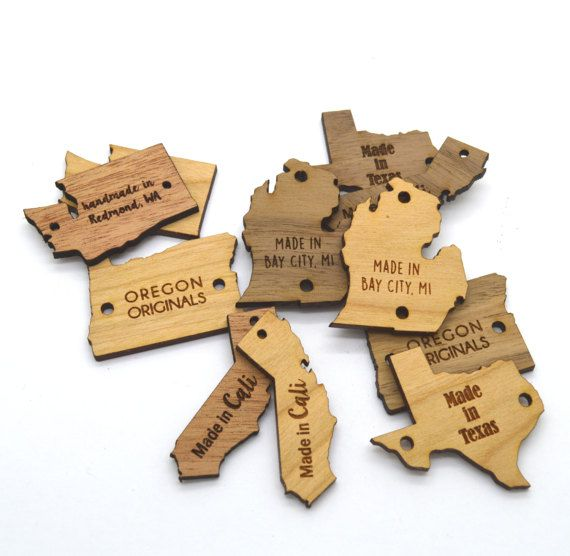 25 Wooden Custom Product Tags US States Shapes Laser Cut