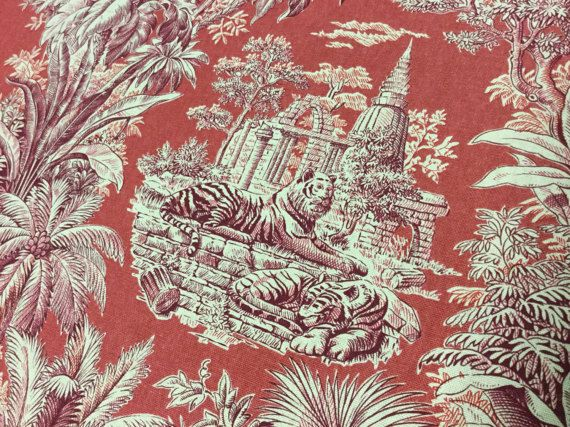 56 Wide Red Elephant Tiger Asiatische Chinoiserie Tropical