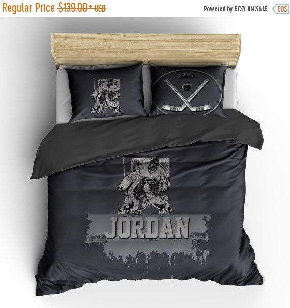 Goalkeeper Playing Game Print Hockey Quilted Bedspread /& Pillow Shams Set