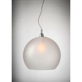 6d70a3deeb7b Copenhagen Glass Collection ROWAN frosted glass ceiling pendant light,  silver cable (large)