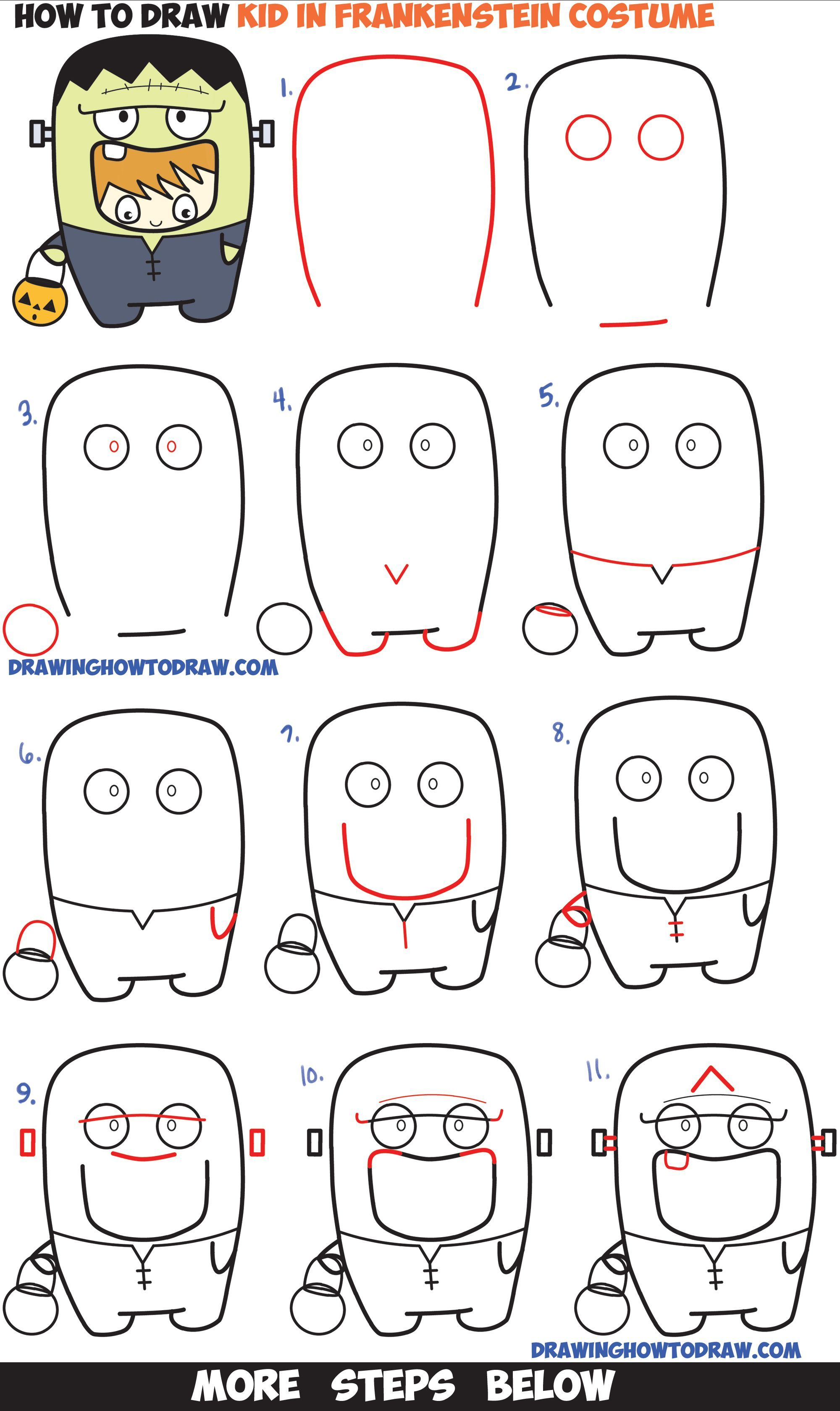 How To Draw A Kid In A Halloween Frankenstein Costume Cute Kawaii Easy Step By Step Dra Halloween Drawings Cute Halloween Drawings Drawing Tutorials For Kids