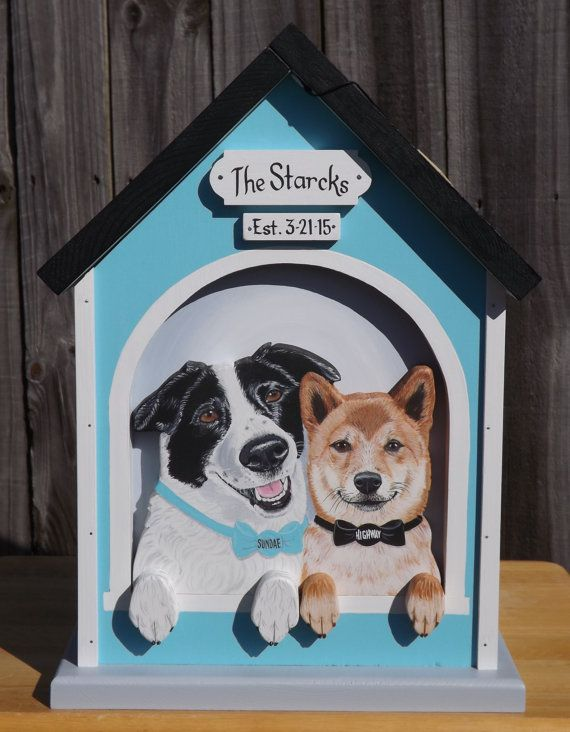 Dog House with 2 Dogs Wedding Card Box With Just Married Banner for ...