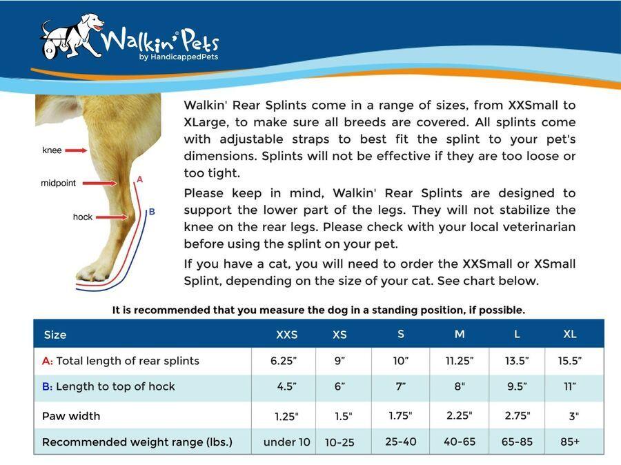 Walkin Pet Splint For Dogs Or Pets Canine Rear Leg Splint Ad