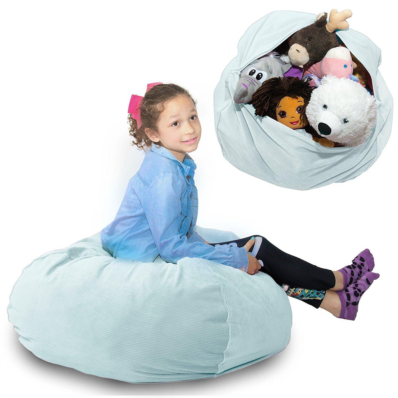 Large stuffed animal storage bean bag chair softest