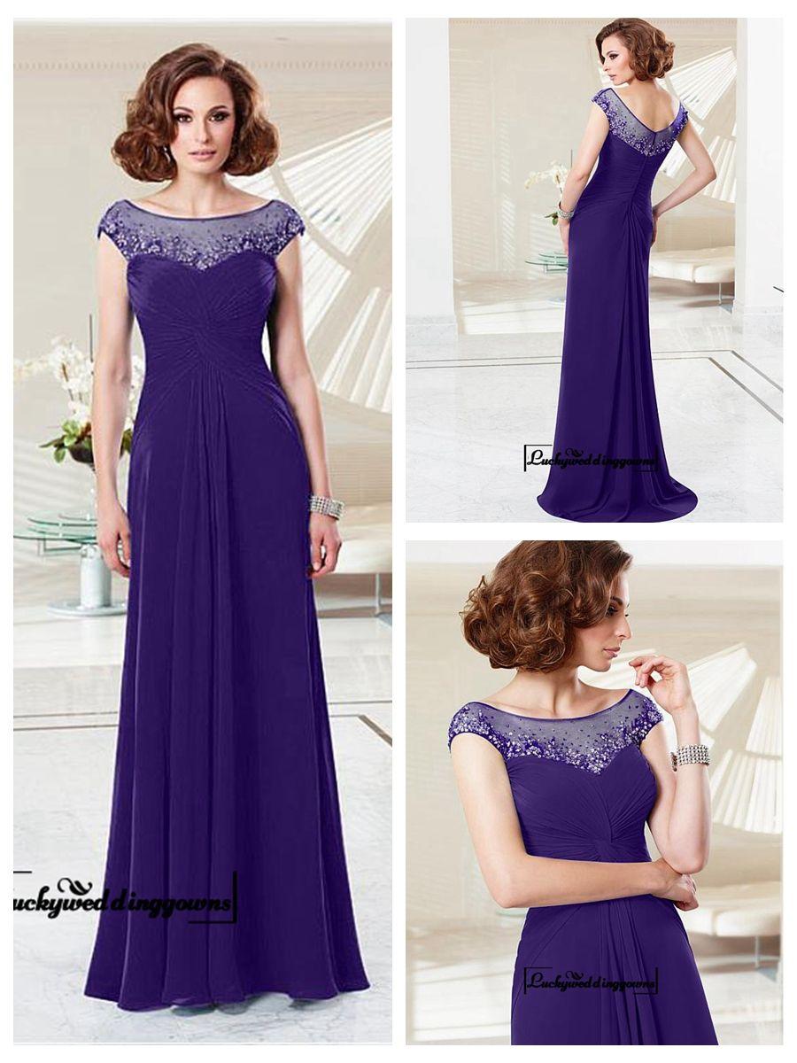 Alluring chiffon u tulle jewel neckline aline evening dress with