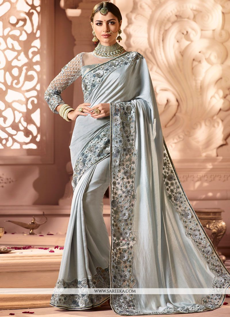 Patch Border Cotton Silk Grey Designer Traditional Saree