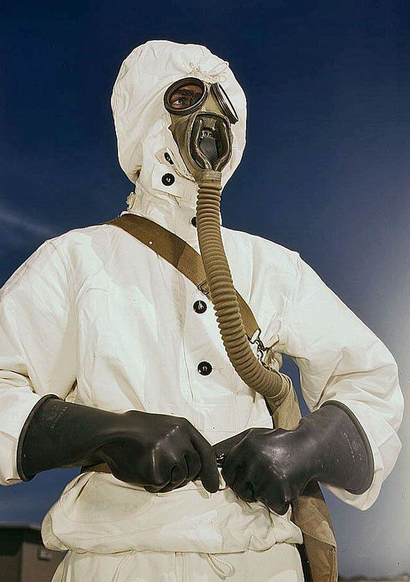 Protective suit and gas mask, developed during World War II for