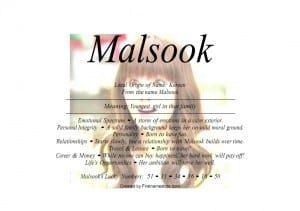 Malsook Name Means Youngest Girl Malja Is Same Meaning As Malsook