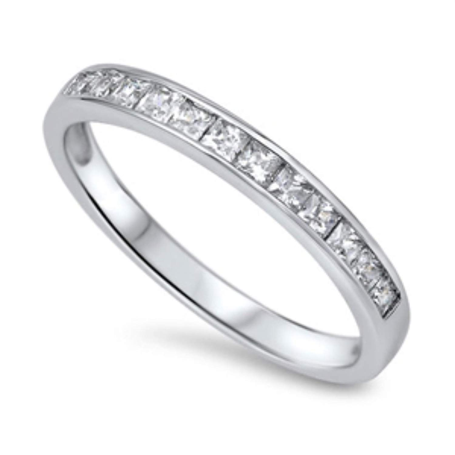 Tianyi Jewelry Stainless Steel CZ Engagement Wedding Rings Band For Men or Women