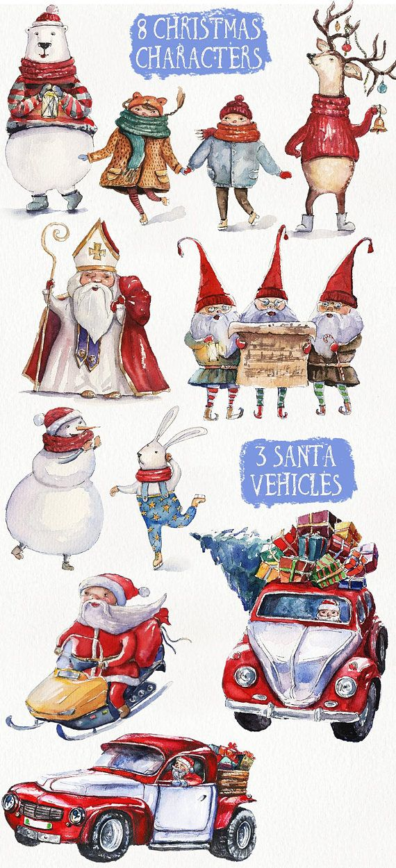 watercolor christmas clipart clip art santa claus new year winter new year decoration illustration p