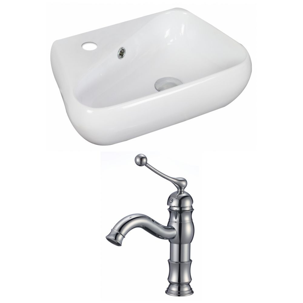 19 Inch W X 11 Inch D Vessel Sink In White With Faucet Wall Mounted Bathroom Sinks Sink Rectangular Sink Bathroom