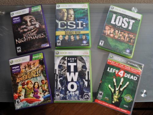 XBOX 360 Game Bundle - 6 GAMES Rise of Nightmares, CSI, Lost