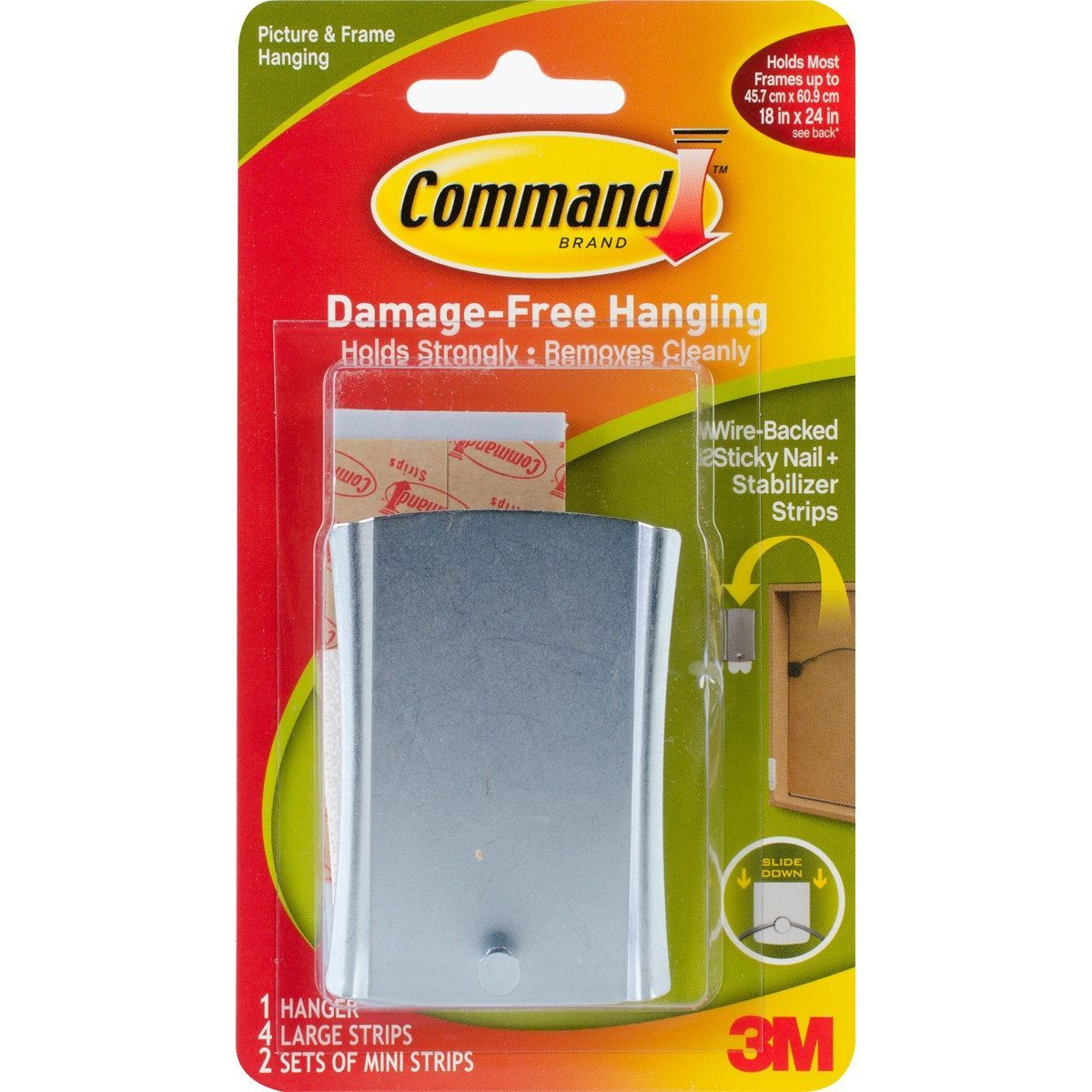 3m Command Wire Backed Sticky Nail 1 Hanger 4 Large Strips 2 1