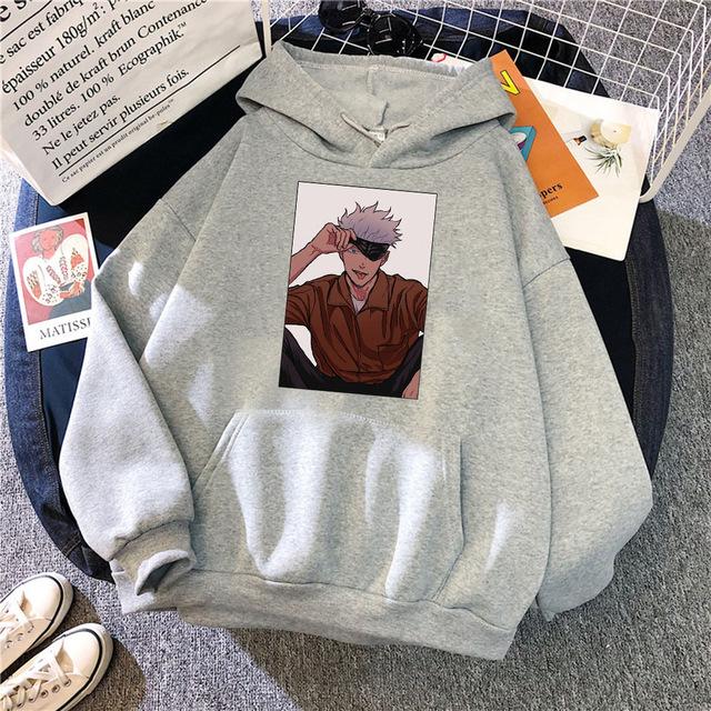 Satoru Gojo Jujutsu Kaisen Themed Hoodie In 2021 Casual Sweatshirt Men Crewneck Sweat Hoodie
