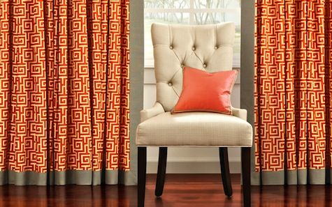 Orange Geometric Drapes Living Room Colors Decorate Your Room
