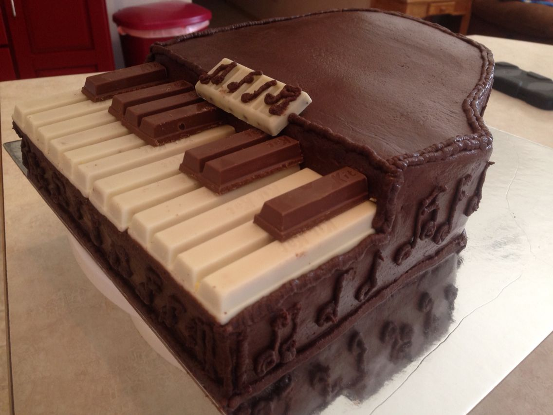 Piano Cake Made With Kit Kat Bars For The Keys A Music Sheet