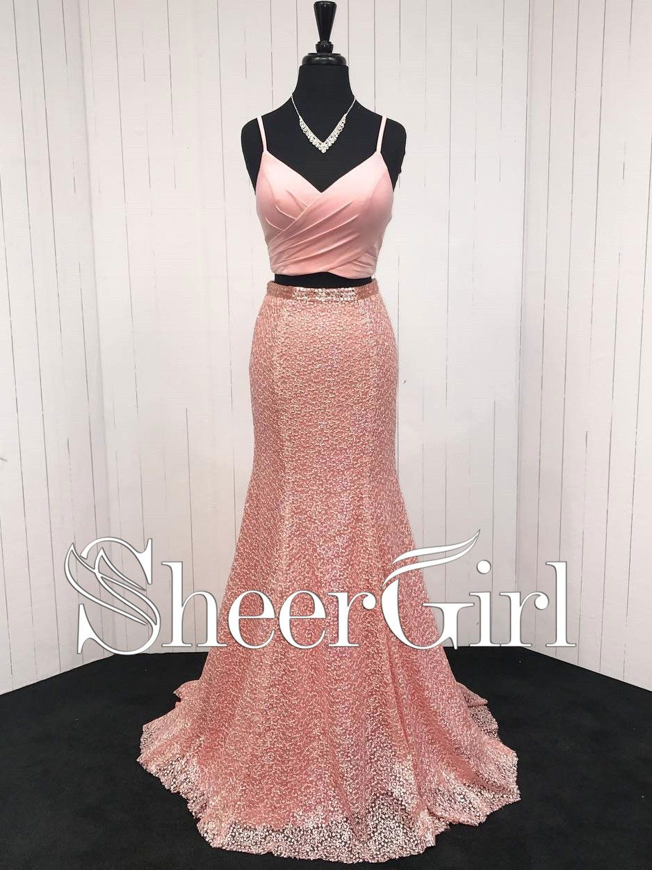 Cheap prom dresses coral a line two pieces long lace mermaid formal