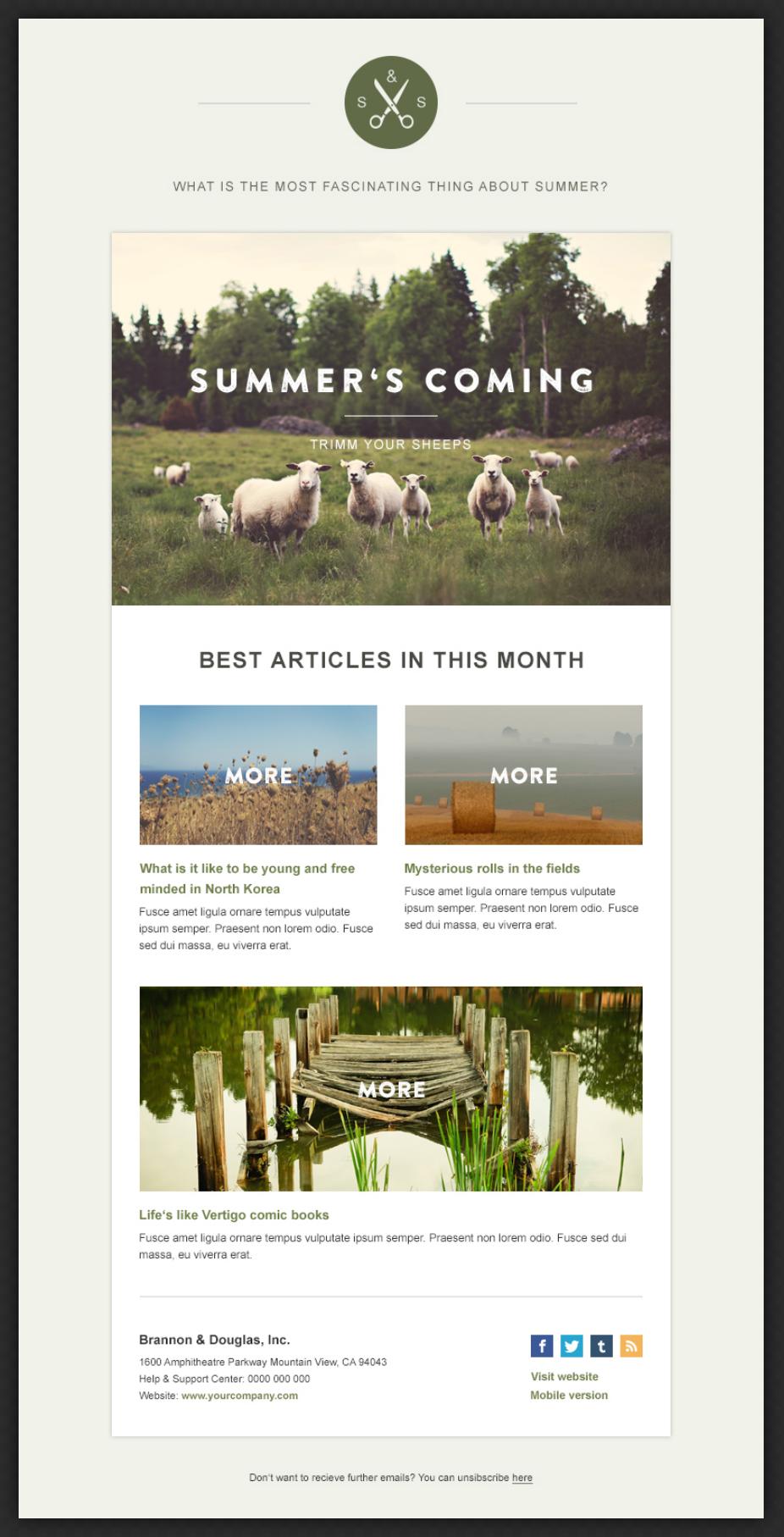 Green Village Newsletter Beautiful Email Newsletters Marketing