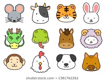 Cute Outlined Chinese Zodiac Animals Animal Faces Easy Doodle Art Animal Outline