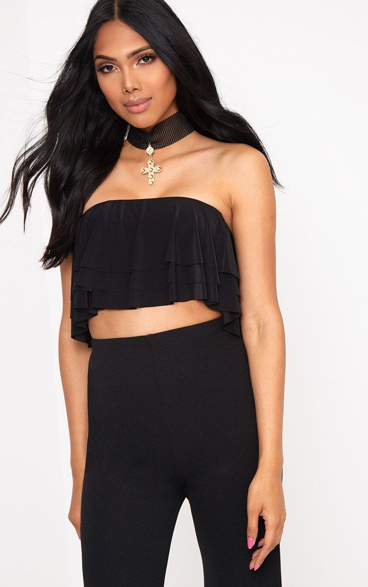 0d699ea977723 Black Slinky Layered Frill Bandeau Crop TopGirlll we are totally obsessed  with this bandeau crop .