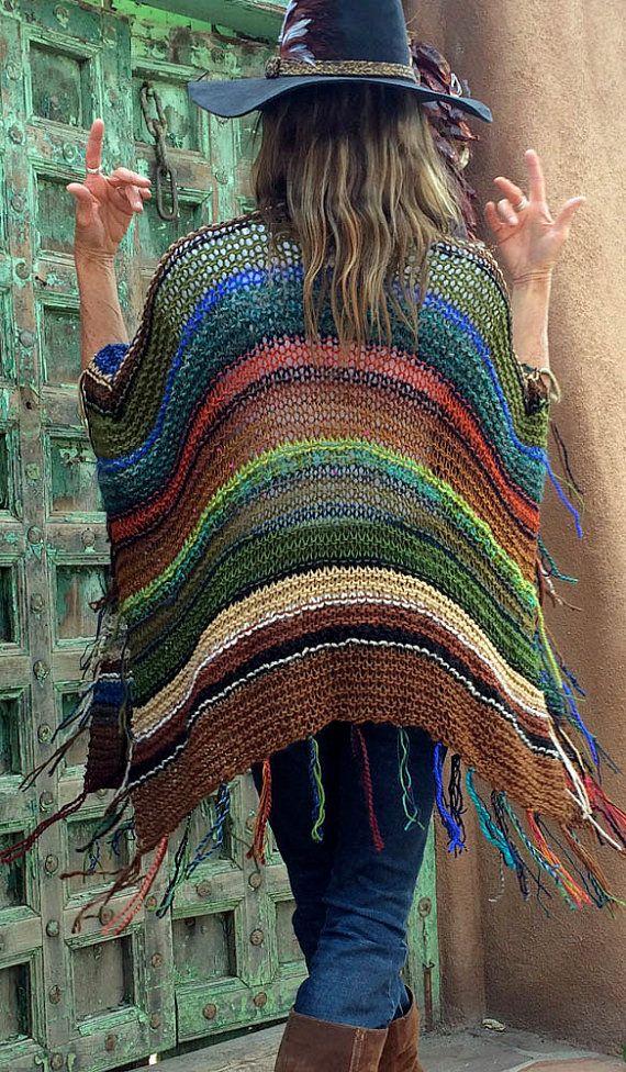 Hip Length Knitted Womens Bohemian Festival Hippie by poshbygosh #ponchos