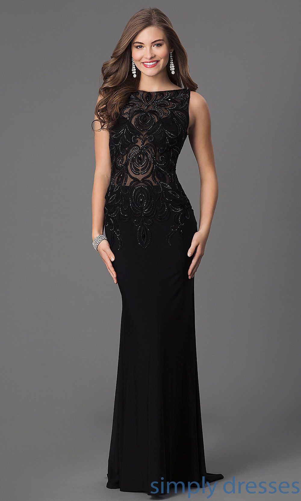 Sheerbodice black evening gown dress formal dress casual and