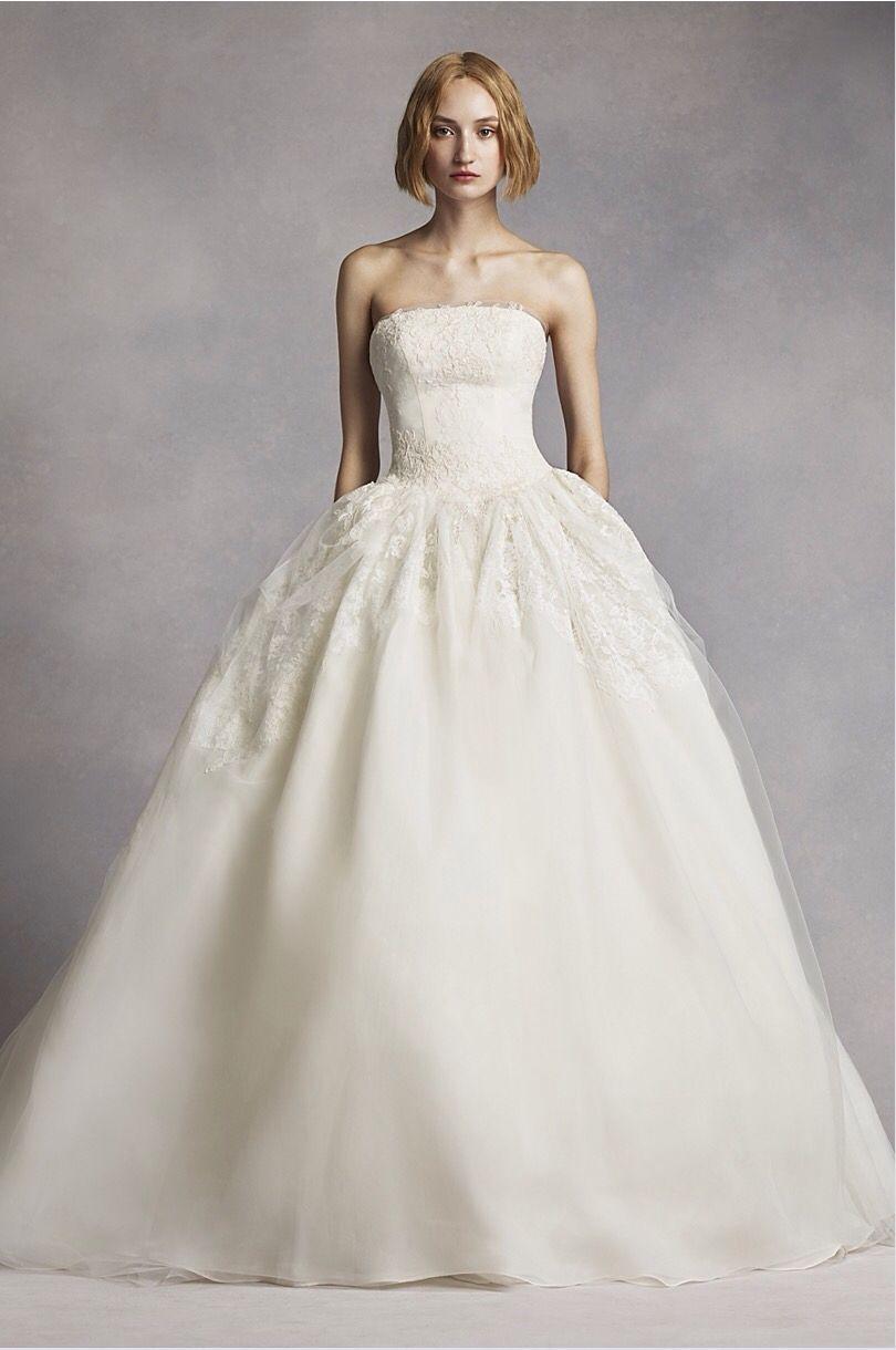 White by vera wang twill gazar lace wedding dress heaven the