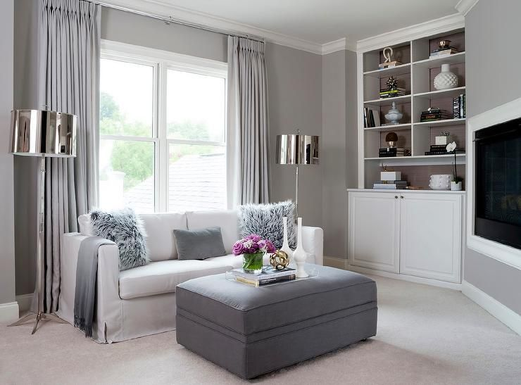 White and gray living room features a wall painted gray - Gray living room walls ...