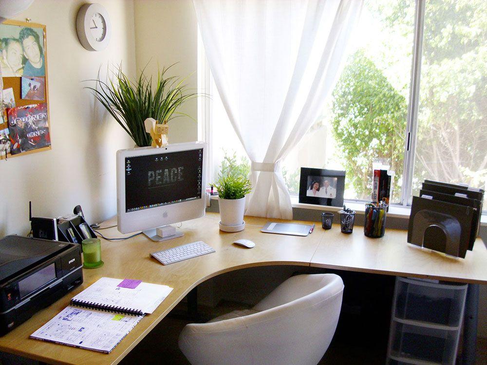 Bureau en l avec fenêtre sur le côté droit arbeitszimmer