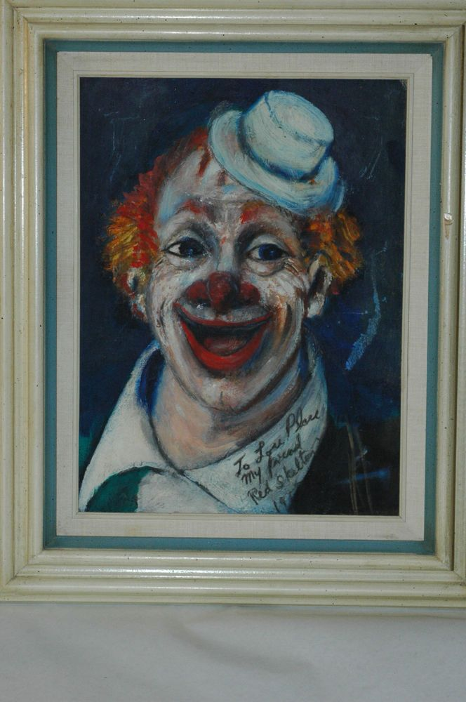 RARE Early Original Red Skelton Clown painting with Stunning