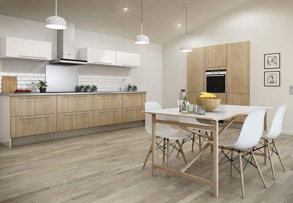 cuisine tendance bois - cuisine blanc laque plan travail bois