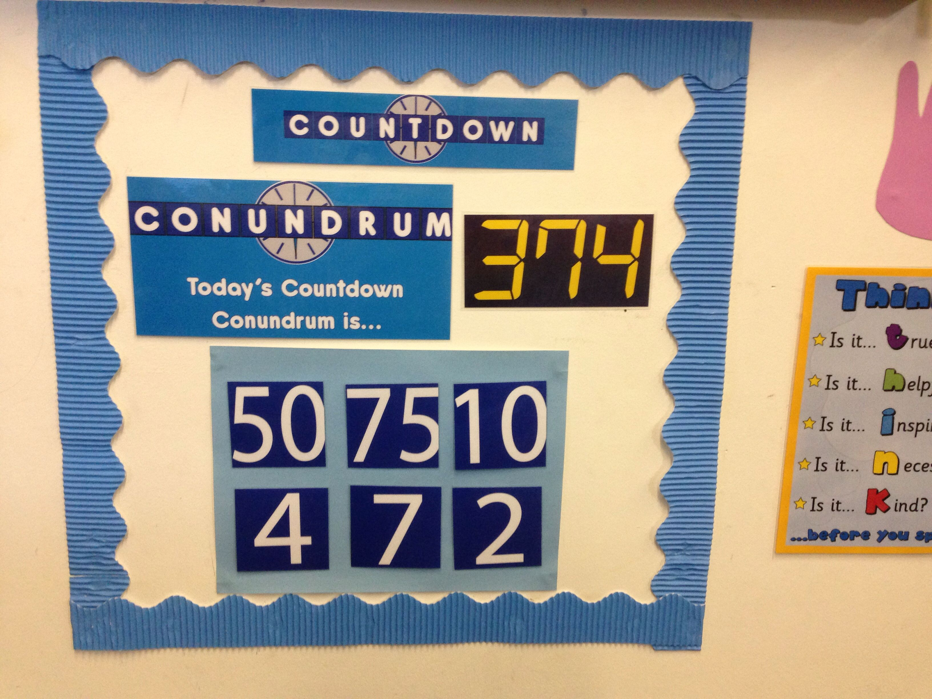 Countdown Conundrum Board My Kids Love Racing To Be The First To Get To Or Closest To The Target Num Classroom Displays High School Classroom School Classroom [ 2448 x 3264 Pixel ]
