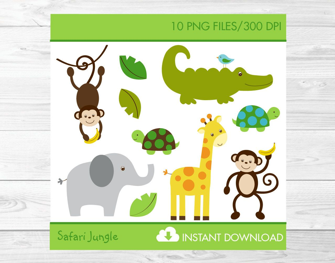Jungle Animals Clipart Safari Animals Clip by LittlePrintsParties