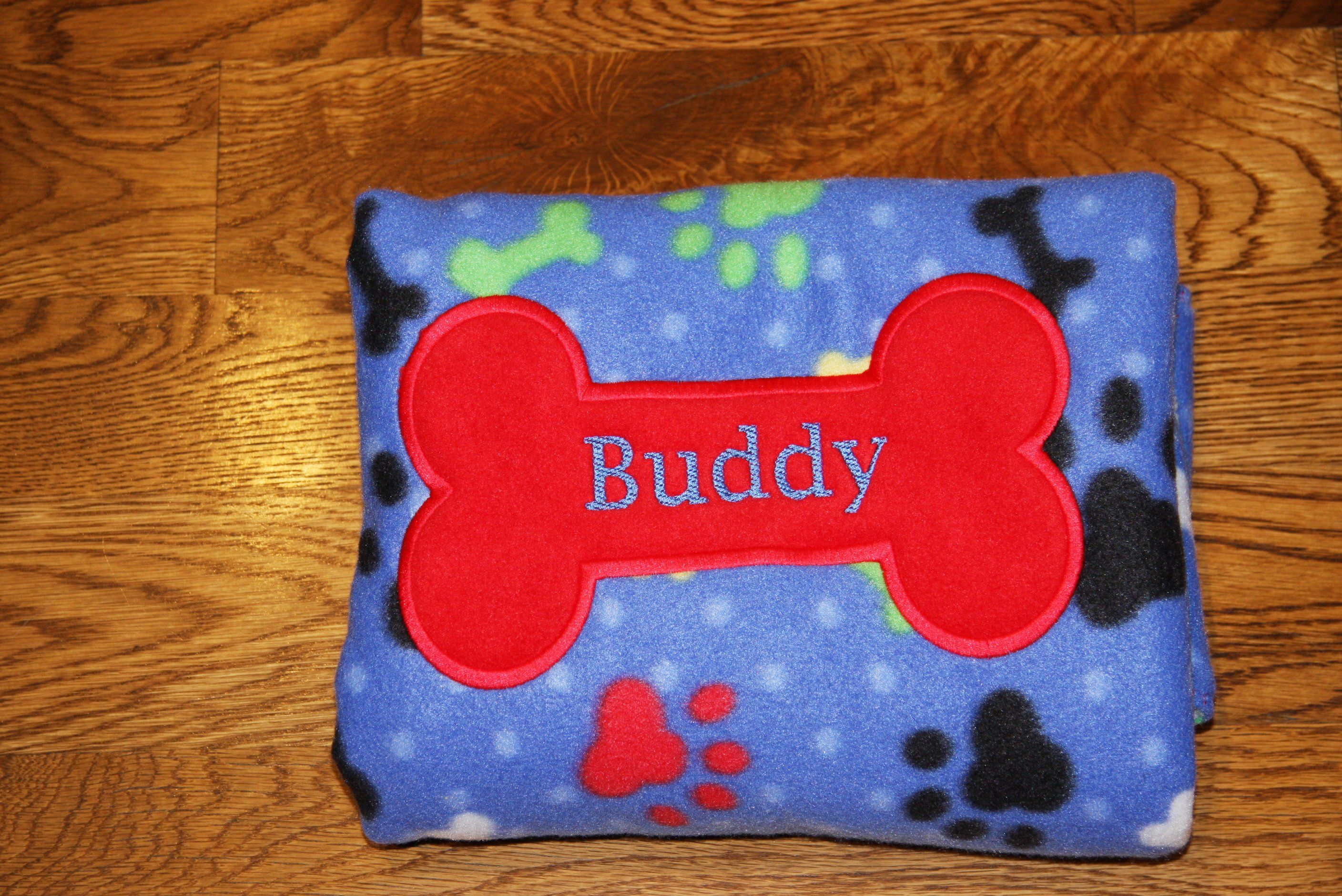 899f61a60e REVERSIBLE Personalized Pet Blanket Dog Blanket Fleece Custom Embroidered  with Dog Name Paw Prints bones made to order Puppy blanket by  RedBobbinDesigns on ...