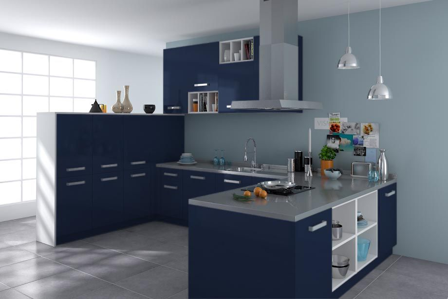 cuisine platine bleu nuit nacre blue pinterest bleu. Black Bedroom Furniture Sets. Home Design Ideas