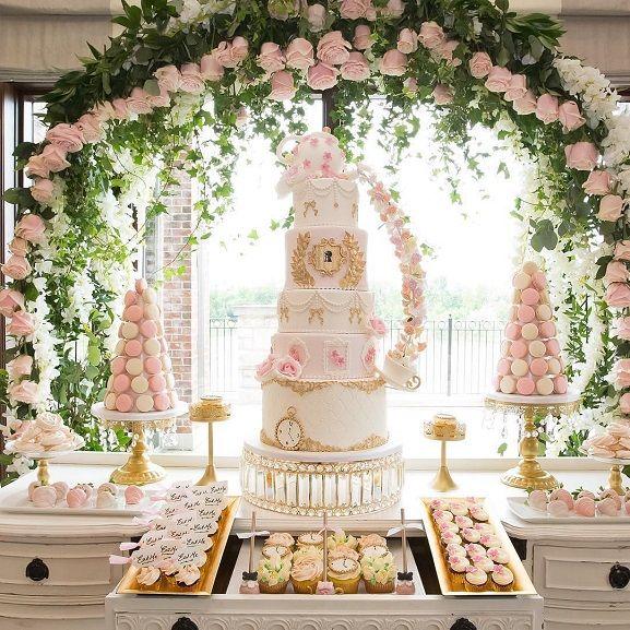 Elegant Wedding Cake Dessert Table Elegant Wedding Pink And Gold Wedding Wedding Cake Dessert Table Wedding Dessert Table Pink And Gold Wedding