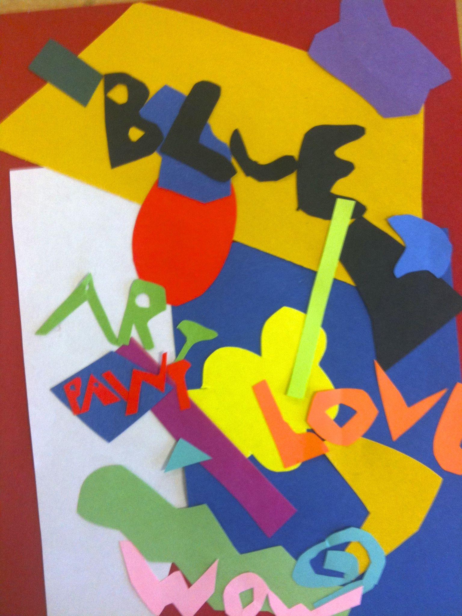 Stuart Davis Lesson On Shape Color Overlapping Pop Art Shapes With Construction Paper