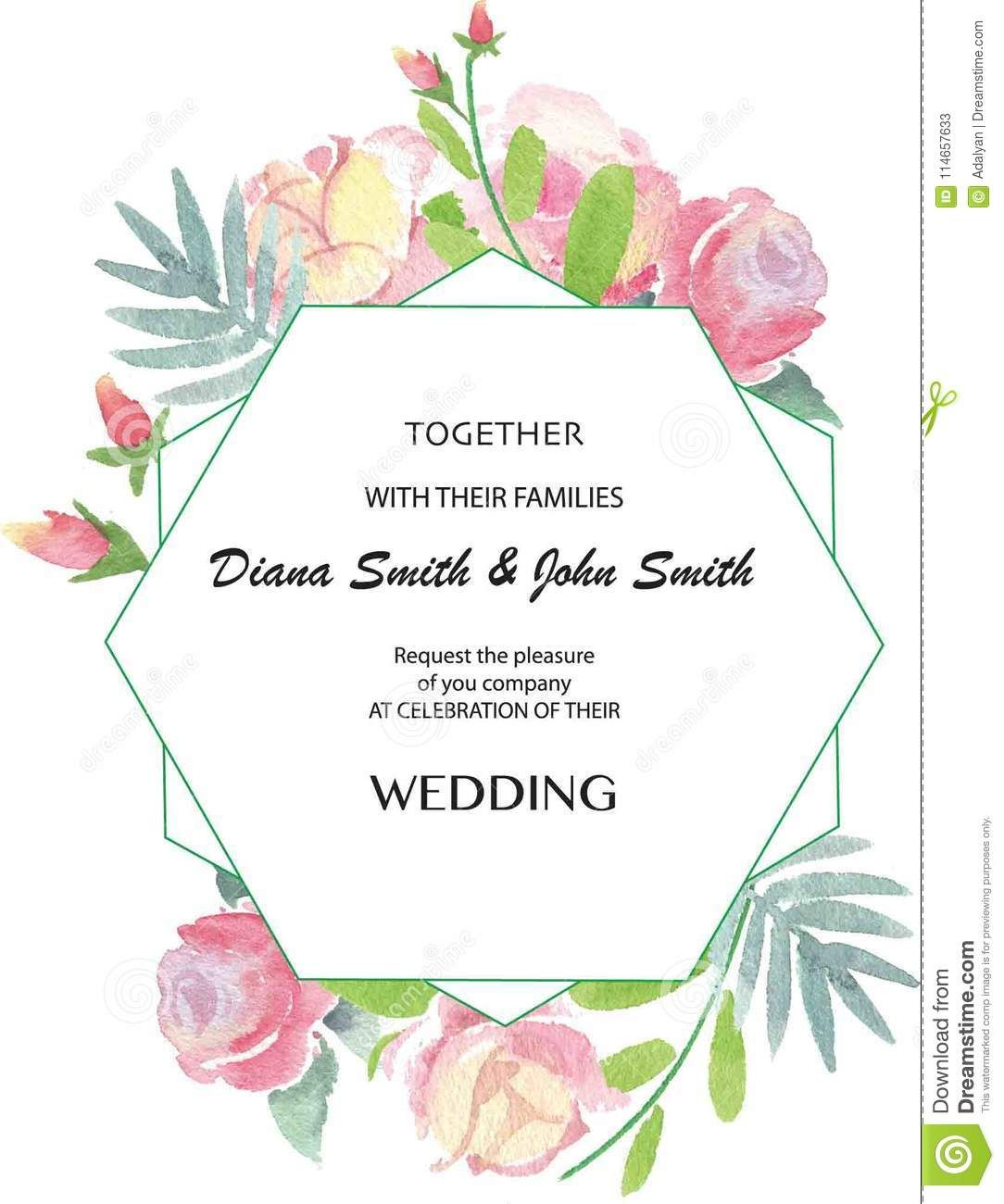 Vector Vintage Wedding Day Invitation With Watercolor Roses