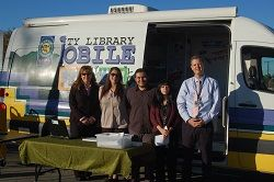 Azusa City Library Staff and Bookmobile are ready to go for the first day at Powell School.