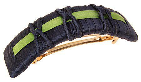 L. Erickson USA Two Tone 3 Knot Volume Barrette - Silk Charmeuse Ink/Bud
