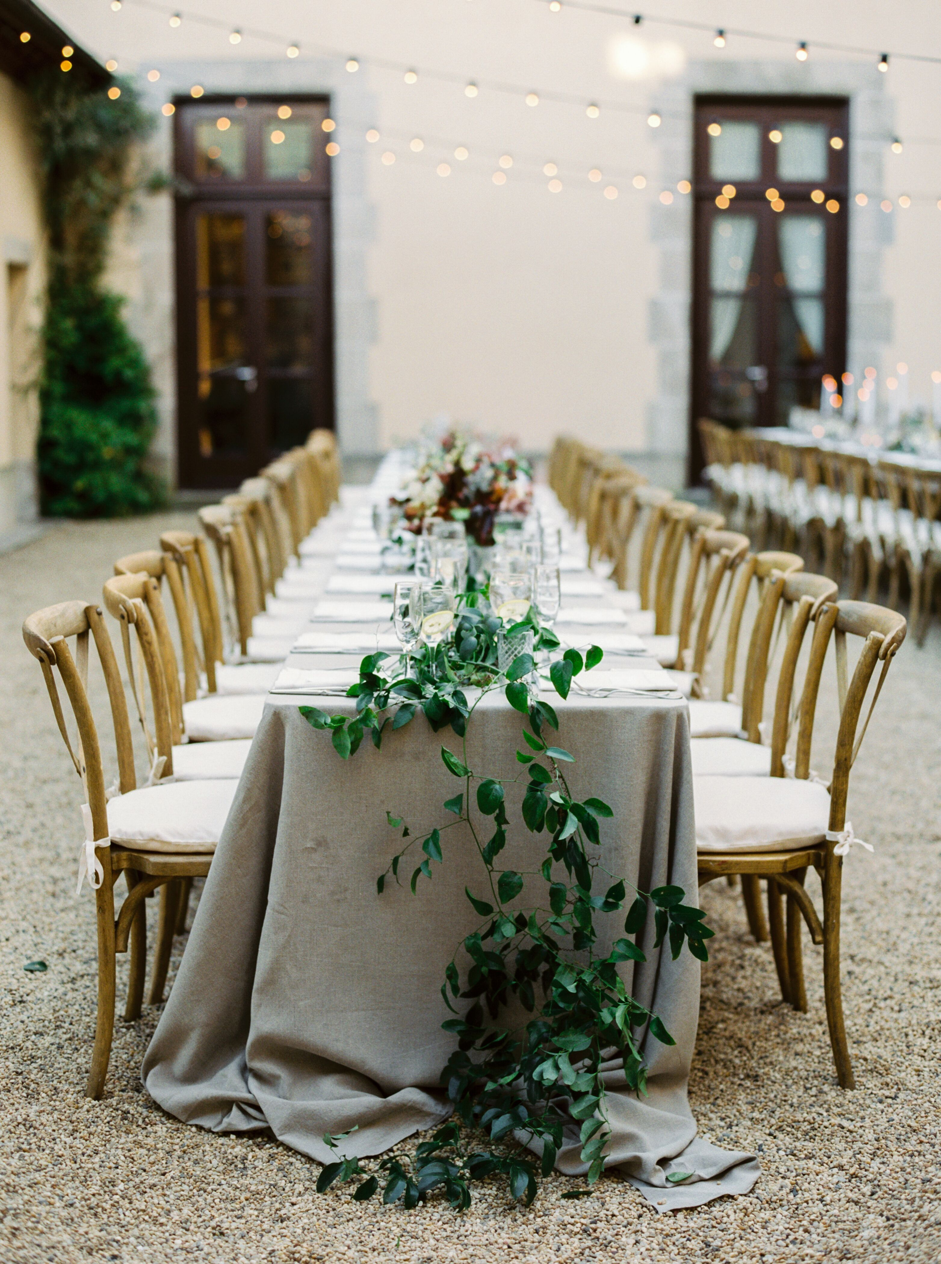Greenery Tablescape At Outdoor Hamptons Wedding At Oheka Castle In Huntington New York Brought To Li Hamptons Wedding Oheka Castle Castle Wedding Inspiration