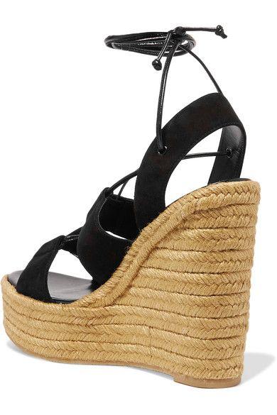 d2f24132cb1 Saint Laurent - Suede Espadrille Wedge Sandals - Black - IT ...
