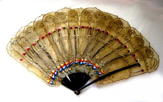 Vintage Hand Fan Rawhide Hand Painted by SharetheLoveVintage, $35.00