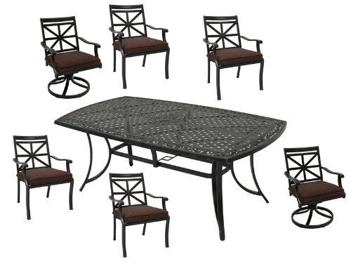 Patio Furniture Aluminum Ironclad 7PC Dining Set by 101patiofurniture.com. $1380.00. Color: Bronze. Product Material: Cast Aluminum. Patio Furniture Aluminum Ironclad 7PC Dining Set. This 7 pieces outdoor dining set adds style to your outdoor living with this sturdy, rust-resistant aluminum dining set that features lattice-weave and embossed floral details. This set includes a rectangle dining table, two swivel chairs and four dining arm chairs with cushions.    ...