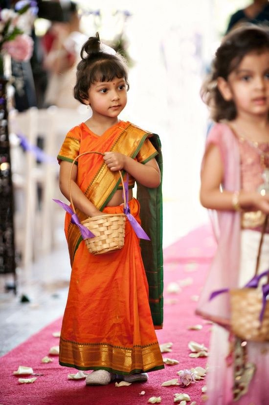 Cute Little Girl In Indian Wear With Images South Indian Bride