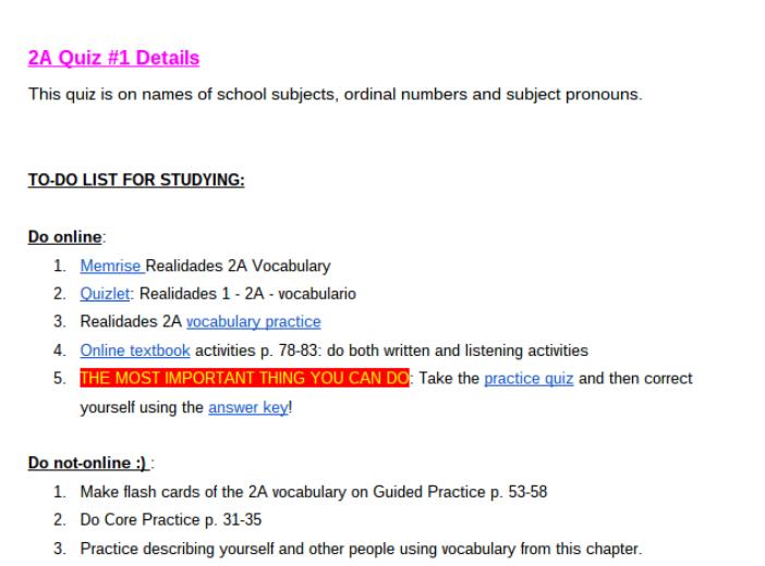 2A Quiz #1 study details #Spanish #school #escuela #subject