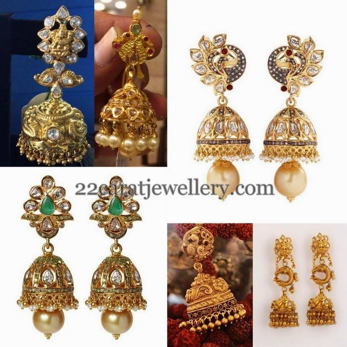 Antique Jhumkas in Peacock Style | Peacocks, Indian jewelry and Jewel